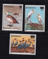 BOTSWANA, 1987, Mint Hinged Stamps , Birds With Overprint, 396-398, #940 - Botswana (1966-...)