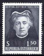 ÖSTERREICH 1965 ** Bertha V. Suttner - Friedens Nobelpreisträgerin - MNH - Berühmt Frauen
