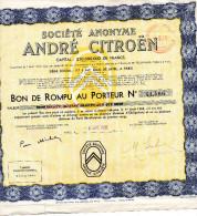 ANDRE CITROEN  BON DE ROMPU AU PORTEUR N° 41,566 DU PT. 1936 - Automobile