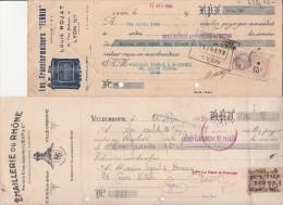 LOT DE 4 LETTRES DE CHANGE TIMBREES LYON -PARIS -CABLERIE-COL RADIO-EMAILLERIE RHONE-TRANSFORMATEURS FERRIX - Bills Of Exchange