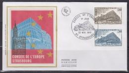 = Conseil De L'Europe 1980 Enveloppe 1er Jour Strasbourg 22.11.80 N°S63 Et S64 Le Bâtiment - Lettres & Documents