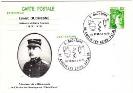 Entier Postal Yv. 1973-CP1 Repiqué Ernest DUCHESNE, Mèdecin Militaire Précureur Découverte De L'action Antibiotique - AK Mit Aufdruck (vor 1995)