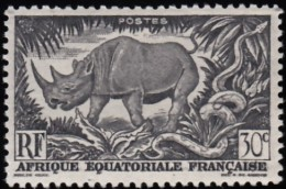 FRENCH EQUATORIAL AFRICA (A.E.F.) - Scott #167 Black Rhinoceros / Mint NH Stamp - A.E.F. (1936-1958)