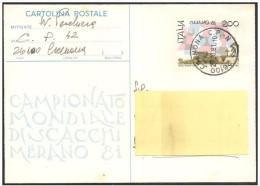 Italia/Italy: Intero, Stationery, Entier, Mondiali Di Scacchi, Monde D'échecs, World Chess - Scacchi