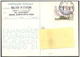 Italia/Italy: Intero, Stationery, Entier, Mondiali Di Scacchi, Monde D´échecs, World Chess - Scacchi