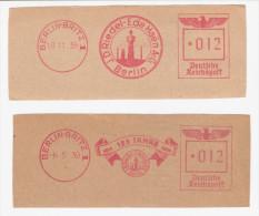2 EMA ALLEMAGNE DEUTSCHLAND GERMANY 1938 1939 DEUTSCHE REICHSPOST USINE CHEMINEE SCHORNSTEIN Berlin Britz Riedel Haen - Usines & Industries