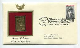 "C Great Americans """" Bessie Coleman - Black Heritage Series """""" Gold Stamp Replica 1964 FDC/bu/UNC - Non Classés"