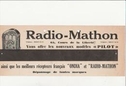 QUITTANCE ELECTRICITE AVEC PU AU DOS RADIO - MATHON -LYON - ANNEE 1934 - Bills Of Exchange