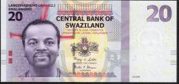 SWAZILAND P37 20 EMALANGENI 2010 Very Low # AA0000787  (or 786 Or 785 ) UNC. - Swaziland