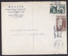 Tunisia: Airmail Cover To Germany, 1958, 2 Stamps (some Damage; Folds) - Tunesië (1956-...)
