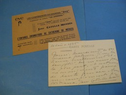 CARTE AUTOGRAPHE  SIGNEE DE JANE CATULLE-MENDES 1936 ROMANCIERE POETESSE FEMINISME à MEURGEY DE TUPIGNY - Autographes