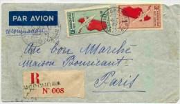 Lettre Recommandée De Madagascar Avec Au Verso Mention Avion (ou Envoi) Accidente à Oran Regrets - Lettres & Documents