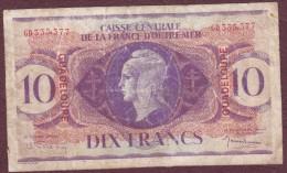 Caisse Centrale De La France D'Outre-Mer. GUADELOUPE 10 Francs 1944. Rare - France