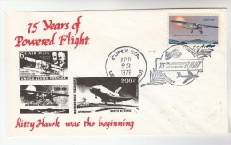 1978 USA POWERED FLIGHT ANNIV EVENT COVER  Pmk CUPEX Illus WRIGHT  BROS, SPACE SHUTTLE Aviation Stamps - Airplanes