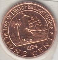 @Y@  Liberia  1 Cent  1974   (2993)  OLIFANT / SALINGSHIP  Uit Proofset - Liberia