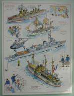 """Colonies Françaises Bateaux """"Jules Ferry"""" """"Montcalm"""" """"Dupleix"""" """"Courbet"""" Planche Cartonnée 400 X 300 Mm TB Dos Blanc - Bateaux"""
