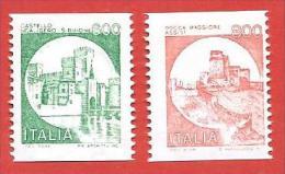 ITALIA REPUBBLICA MNH - 1991 - Castelli D'Italia Valori Complementari Bobine Macchinette - £ 600 + 800 - S. 1530EA 1530H - 6. 1946-.. Repubblica