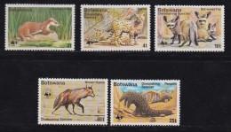 BOTSWANA, 1977, Mint Hinged Stamps , Endangered Animals, 182-186 , #736 - Botswana (1966-...)
