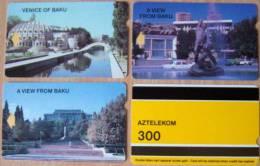 3 Magnetic Cards Cartes Karten Set From AZERBAIJAN Aserbaidschan L´Azerbaïdjan ALCATEL AZTELEKOM 300units View Of Baku