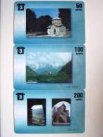 Set Of 3 Chip Cards Cartes Karten From GEORGIA Georgie Georgien. Church Mountains Landscape Eglise Kirche Paysages Berg