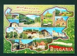 BULGARIA  -  Multi Views In Map Outline  Unused Postcard - Bulgaria