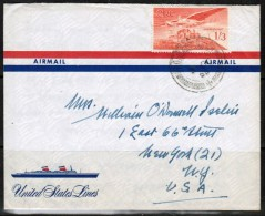 """IRELAND  Scott # C 6 On OFFICIAL """"US LINES"""" LETTER To N.Y. (1956/28/Sept) - 1949-... Republic Of Ireland"""