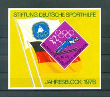 Germany Deutschland 1976 Deutsche Sporthilfe Jahresblock Sport Helping Ski Jump Schispringen MNH - Skiing