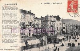 46 - CAHORS -  Le Boulevard  - Commerces -  Poème  - 1911 - 2 Scans - Cahors