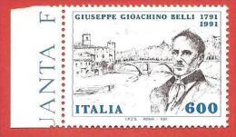 ITALIA REPUBBLICA MNH - 1991 - Bicentenario Della Nascita Di Giuseppe Gioacchino Belli - £ 600 - S. 1960 - 6. 1946-.. Repubblica