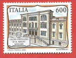 ITALIA REPUBBLICA MNH - 1991 - Scuole D'Italia - Liceo Ginnasio D.A.Azuni, A Sassari - £ 600 - S. 1965 - 6. 1946-.. Repubblica
