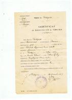 CERTIFICAT DE BONNES VIES & MOEURS   COMMUNE DE CARTIGNIES ( NORD)  1937 - Vieux Papiers