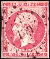 France 1860 Emperor Louis Napoleon 80c Pink Used. Scott 20. Yvert 17b. - 1853-1860 Napoleon III