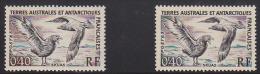 F.S.A.T. 1959 40c Skua Color Error. Scott 13. - Imperforates, Proofs & Errors