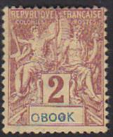 Obock 1892 Navigation & Commerce 2c Printed OBOOK Instead Ov OBOCK. Scott 33. MH. - Unused Stamps