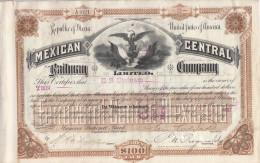 MEXICO MEXICAN CENTRAL RAILWAY COMPANY  1887 - Chemin De Fer & Tramway