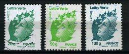 FRANCE 2011 / YT 4593 A 4595  MARIANNES LETTRE VERTE    OBL. - France