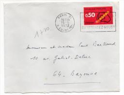 """1972--tp Code Postal 0.50F-n°1720 Seul Sur Lettre--cachet Flamme PARIS 91""""Des Malades Ont Besoin De Sang"""" - Storia Postale"""