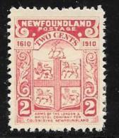 Newfoundland, Scott # 88 Mint Hinged Arms Of London And Bristol Co, 1910 - Newfoundland