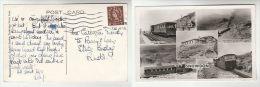 1956 Barmouth GB Postcard (photo SNOWDON STEAM RAILWAY TRAIN & SUMMIT HOTEL) Cover Stamps - 1952-.... (Elizabeth II)