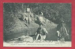 Laos - Déchargement Des éléphants Pour La Traversée De La Rivière Hin Lat - 1910  ( Voir Verso) - Laos
