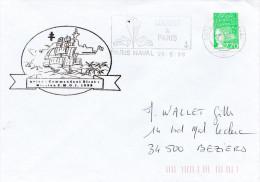 LETTRE AVISO COMMANDANT  BIROT MISSION ZMOI 1998 MARINE A PARIS FLAMME - Marcophilie (Lettres)