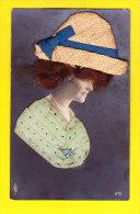 Fant-758A70  Femme Avec Cheveux Véritables, Chapeau De Paille Véritable, Robe En Tissu, Cpa - Femmes