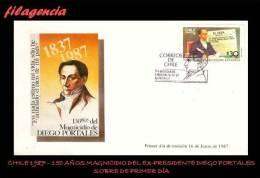 AMERICA. CHILE SPD-FDC. 1987 150 AÑOS DEL MAGNICIDIO DEL EX-PRESIDENTE DIEGO PORTALES - Chile