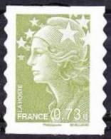 Autoadhésif(s) De France N°  286.** Au Modèle 4342 - Marianne De Beaujard 0.73 Euro Vert Olive. Bande Phosphore Continu - Neufs