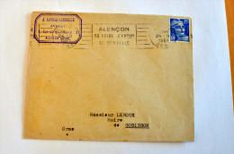 """Lettre, Gandon, Flamme RBV Alençon """"Sa Foire - Sa Dentelle"""" (Orne), Avocat Lapouge-Lemonier - 24-09-1951 - Marcophilie (Lettres)"""