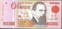 URUGUAY P68 2000 NUEVOS PESOS 1989  Serie A UNC. - Uruguay