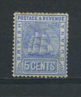 BRITISH  GUIANA    1890    5c  Ultramarine     MH (slight  Stain Hence Price) - British Guiana (...-1966)