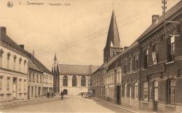 Zomergem / Somergem : Tramstatie  --  Kerk -- Met Delhaize Winkel - Zomergem