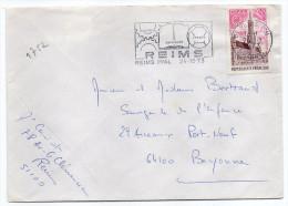 1973--tp N° 1752  EUROPA (hotel De Ville Bruxelles) Seul Sur Lettre--cachet Flamme REIMS -51--football - Storia Postale