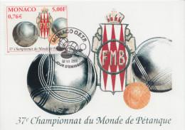 Carte  Maximum  1er   Jour   MONACO   Championnat  Du  Monde  De  Pétanque    2001